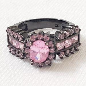 Pink and black ring stamped 10k